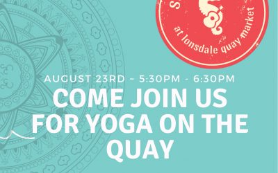 Yoga at Summer fest at Lonsdale Quay Market.